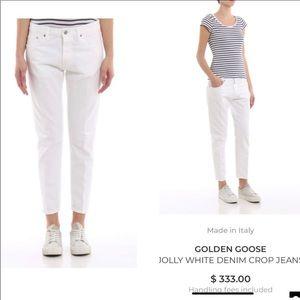 Golden Goose M Jolly White denim crop jeans.